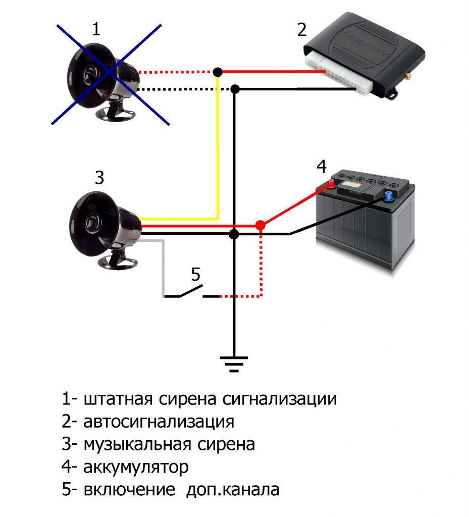 Музыкальная сирена MP3. Схема подключения